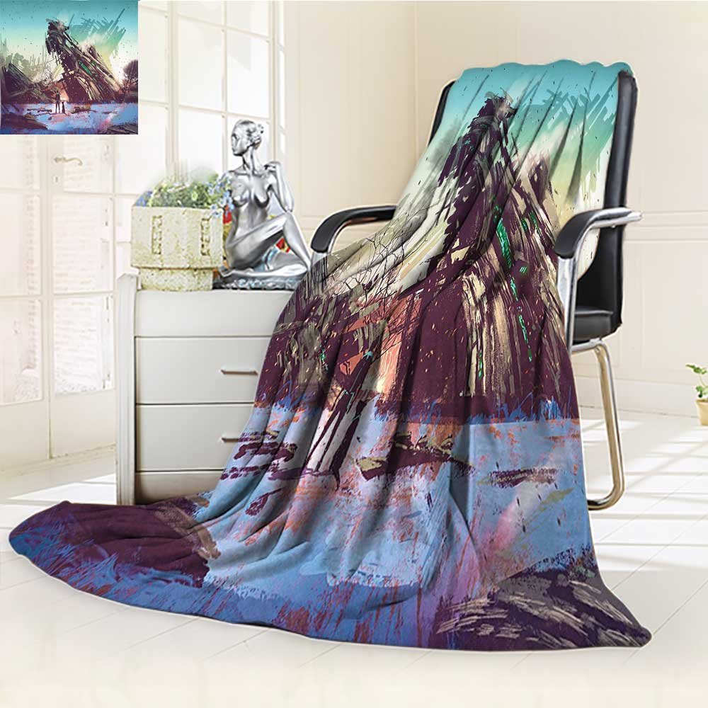 color01 59\ color01 59\ YOYI-HOME Luxury Warm Fuzzy Weighted Bed Duplex Printed Blanket Fantasy World A Man and His Dog Looking at Crashed Spaceship Imagination Futuristic bluee Green Camping Blanket  W59 x H47