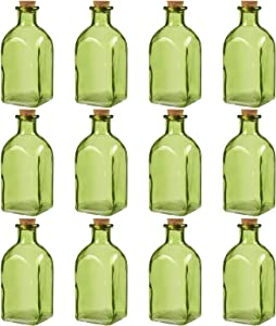 Juvale Clear Glass Bottles with Cork Lids (Green, 12 Pack)