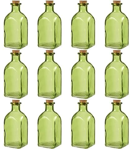 Claro botellas de vidrio con corcho lids- 12 unidades de pequeño verde transparente tarros con