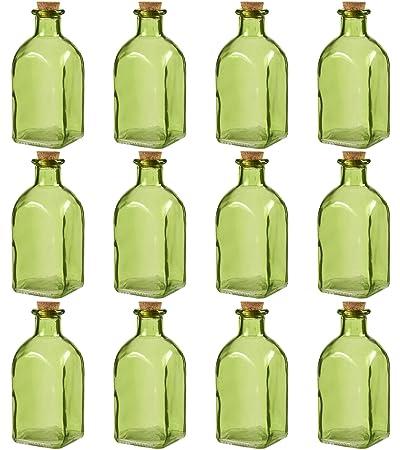 Claro botellas de vidrio con corcho lids- 12 unidades de pequeño verde transparente tarros con tapones para, DIY, decoración de casa, recuerdo de la fiesta ...