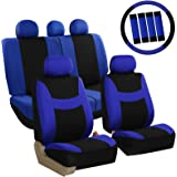ALEKO CSC14BLUE Easy Install 14-Piece Polyester Mesh Universal Full Set Car Seat Covers with Steering Wheel Belt Pad Head Rest Covers, Blue and Black