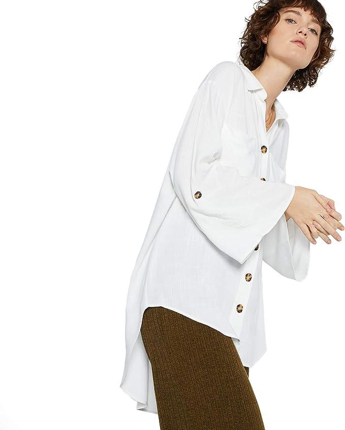 Parfois - Camisa Fluida Oversized - Mujeres - Tallas Única - Blanco: Amazon.es: Ropa y accesorios