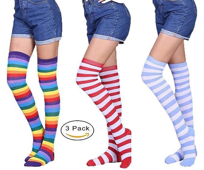 Kfnire Calcetines para Mujer, 3 pares/4 pares de calcetines largos a rayas sobre