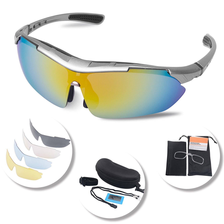 3f76cb0ba4 Gafas Ciclismo Polarizadas con 5 Lentes Intercambiables Gafas de Sol  Deportivas Antivaho Antireflejo Anti Viento y