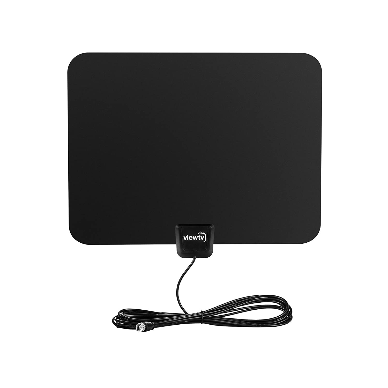 ViewTV Flat HD Digital Indoor Amplified TV Antenna - 50 Miles Range - Detachable Amplifier Signal Booster - 12ft Coax Cable - Black 4330082288