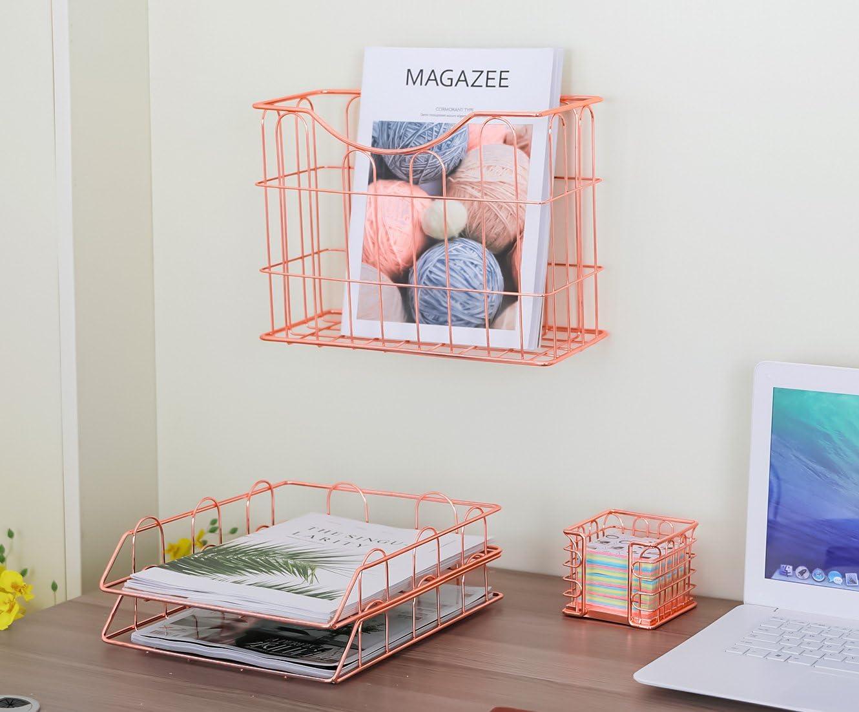 2 vassoi di riempimento A4 e porta appunti adesivi formato A4 colore: oro rosa da appendere alla parete Generic Set 4 in 1 organizer da scrivania per ufficio
