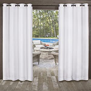 Exclusive Home Curtains Miami Sheer Textured Indoor/Outdoor Grommet Top Curtain Panel Pair, 54x96, Winter White, 2 Piece