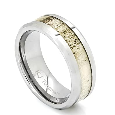 bands grande inlay tungsten band antler rings wedding mens womens anniversary deer products and