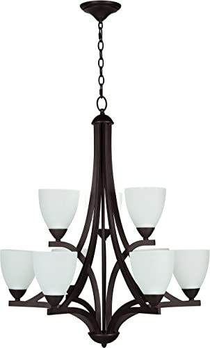 Craftmade 37729-OLB-WF Almeda Modern Chandelier Lighting, Old Bronze 9-Light 30 W x 35 H 540 Watts
