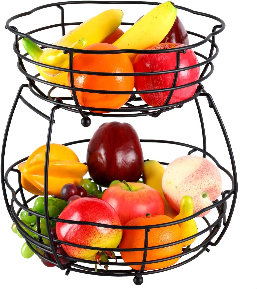 IZLIF Fruit Baskets 2 Tier Metal Bread Basket Storage Display Stand for Kitchen with Screws Free Design
