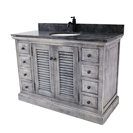 48 Rustic Solid Fir Sink Vanity In Grey With Limestone Top