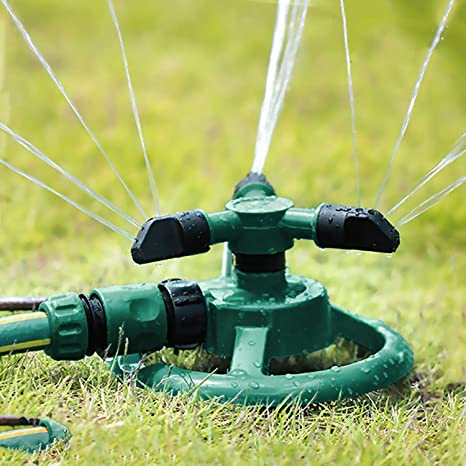 BULY Aspersor de jardín,Aspersor automático de Agua para césped Rociador Giratorio de 360º y 3 Brazos con Conector de Agua en Forma de Y para césped, Jardines, Cultivos, Plantas Flores Vegetales: Amazon.es: