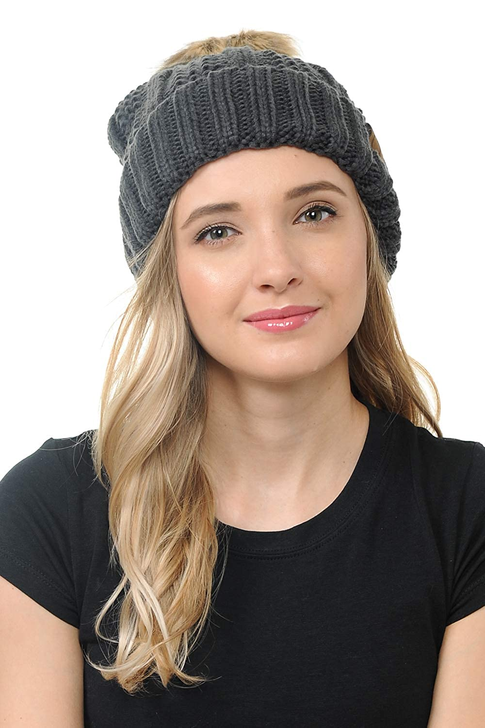 Warm Soft Thick Beanie Hats for Women /& Men Dark Melange Grey BYSUMMER Cable Knit Beanie with Faux Fur Pom