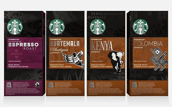 Starbucks Nespresso Espresso Selection Coffee Set 4 Flavour Variety Pack 40 Pods