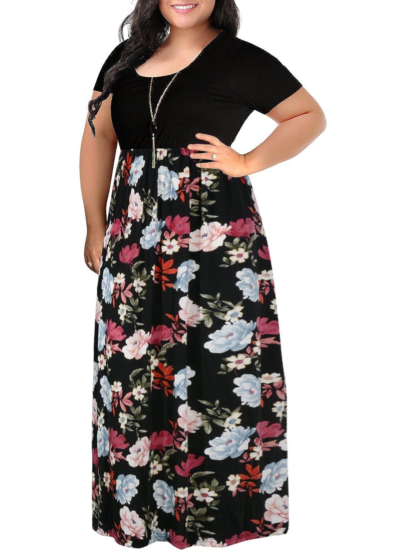 e2f044ab0ec Nemidor Women s Chevron Print Summer Short Sleeve Plus Size Casual Maxi  Dress at Amazon Women s Clothing store