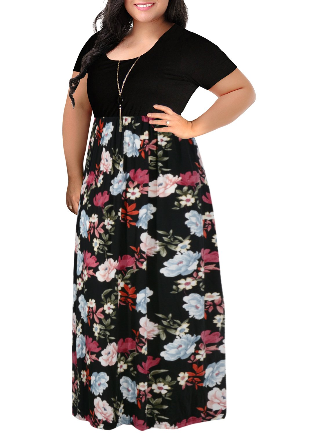 Nemidor Women's Chevron Print Summer Short Sleeve Plus Size Casual Maxi Dress (26W, Black Peony)