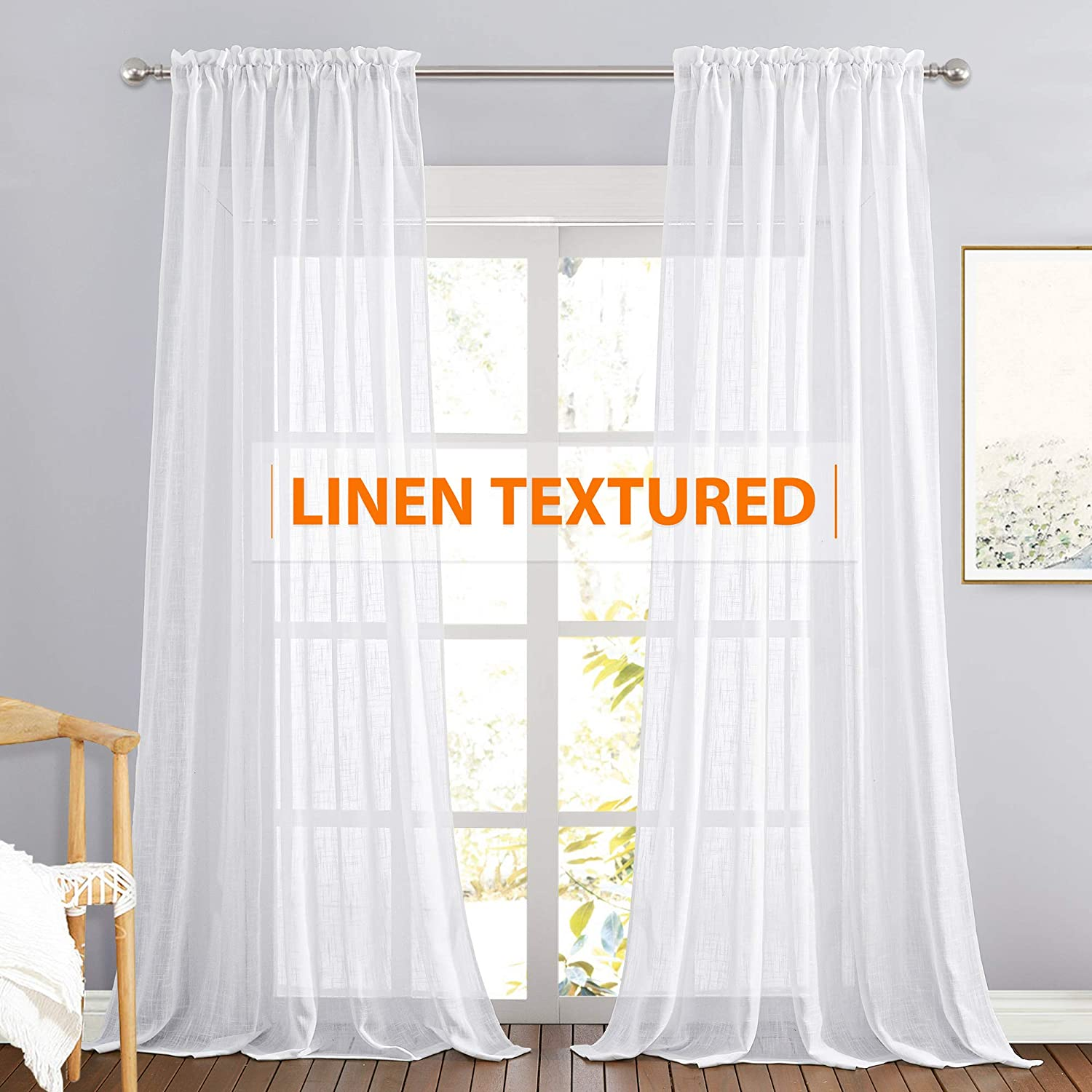 RYB HOME Extra Long Linen Curtains Semi Sheer Drapes Natural Linen Textured Blend Boho Window Decor for Living Room Bedroom Front Door High Ceiling Window, White, W 70 x L 108, 1 Pair
