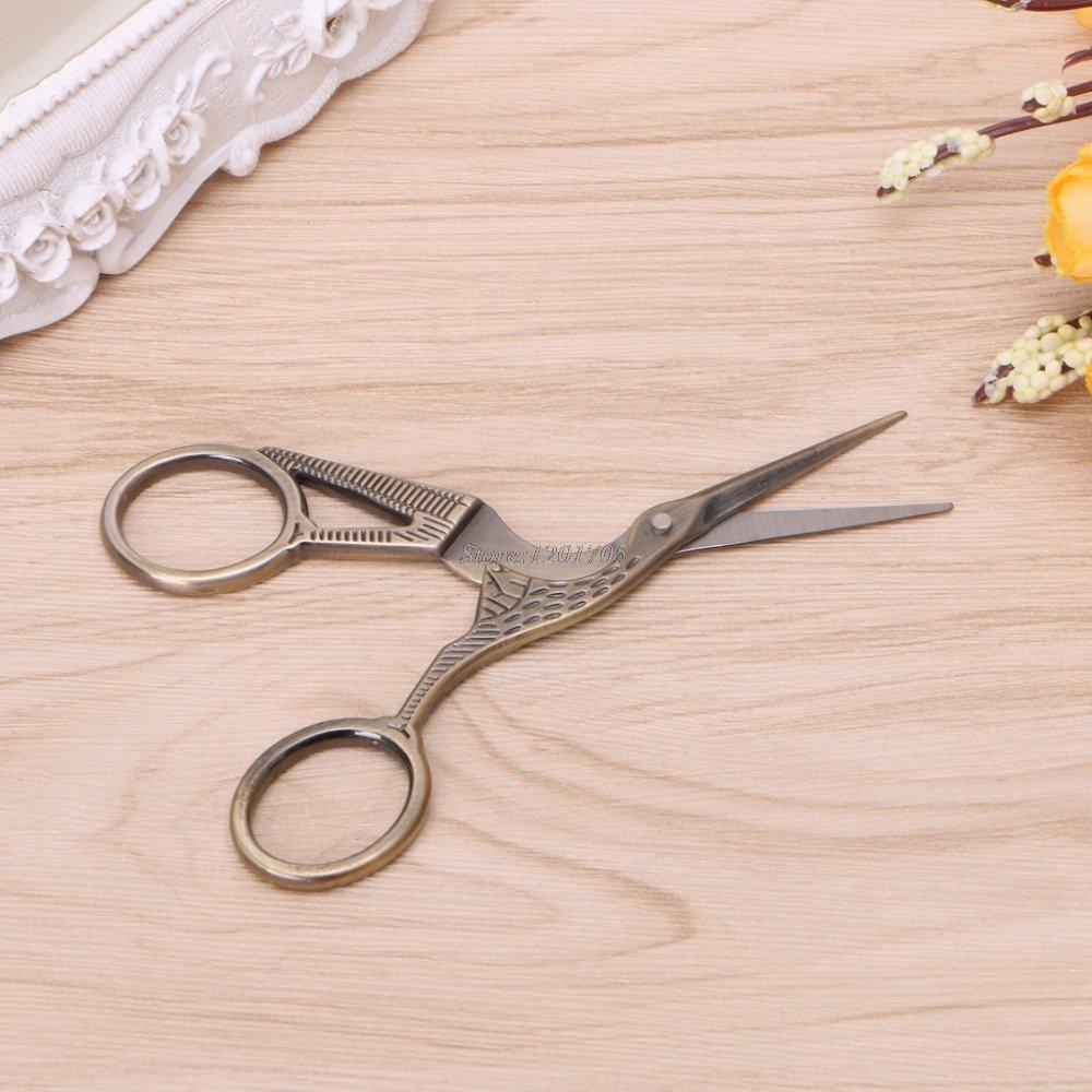 Vintage Style Stork Crane Scissors Antique Cutter Embroidery Cross Stitch Sewing Antique Bronze
