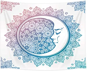 Shocur Bohemian Tapestry, Blue Mandala and White Moon Tapestry, Home Decor Wall Hanging Art, Pretty Living Room and Bedroom Design, 59 X 78 Inches with Pins