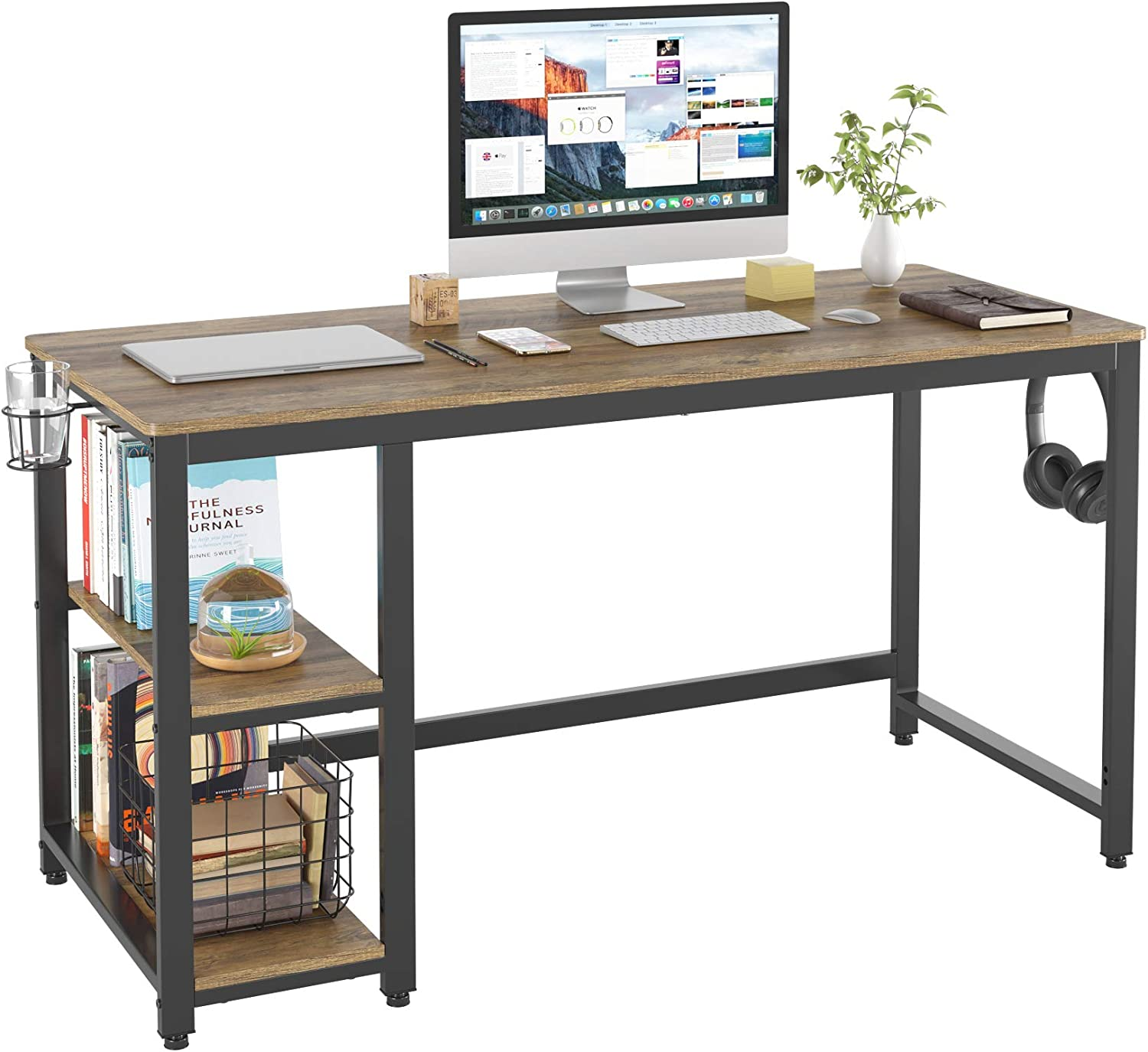 "HOMECHO 55"" Industrial Computer Writing Desk for Home Office Work, Wood Laptop Study Desk with 2 Side Storage Shelves, Simple/Large PC Workstation Gaming Table with Sturdy Metal Frame, Rustic Brown"