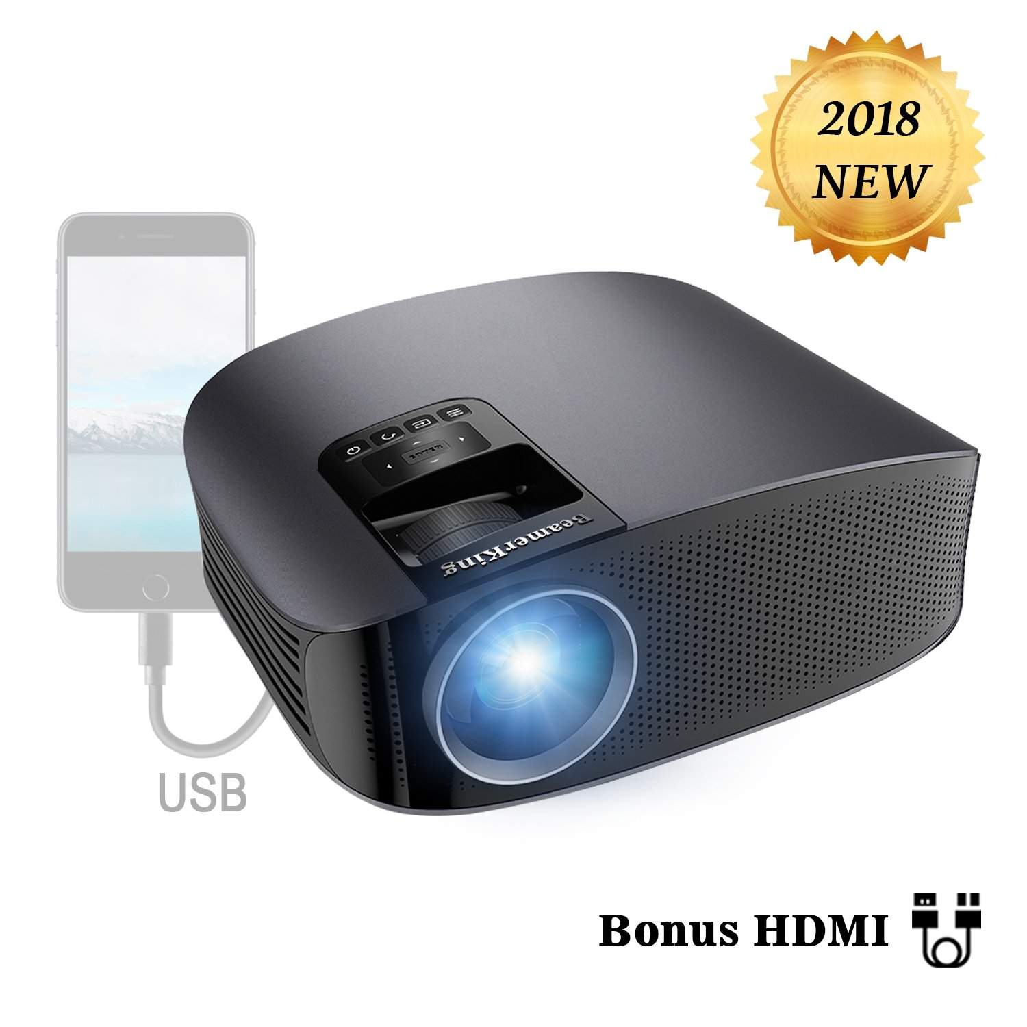 Projector Video Movie Home Theater 3500 lumens 1280x800 Native Resolution Support 1080P LED Projector for iPhone Laptop Andriod Smartphone PS4 Xbox TV Box Fire TV WS610 by BeamerKing by BeamerKing (Image #1)