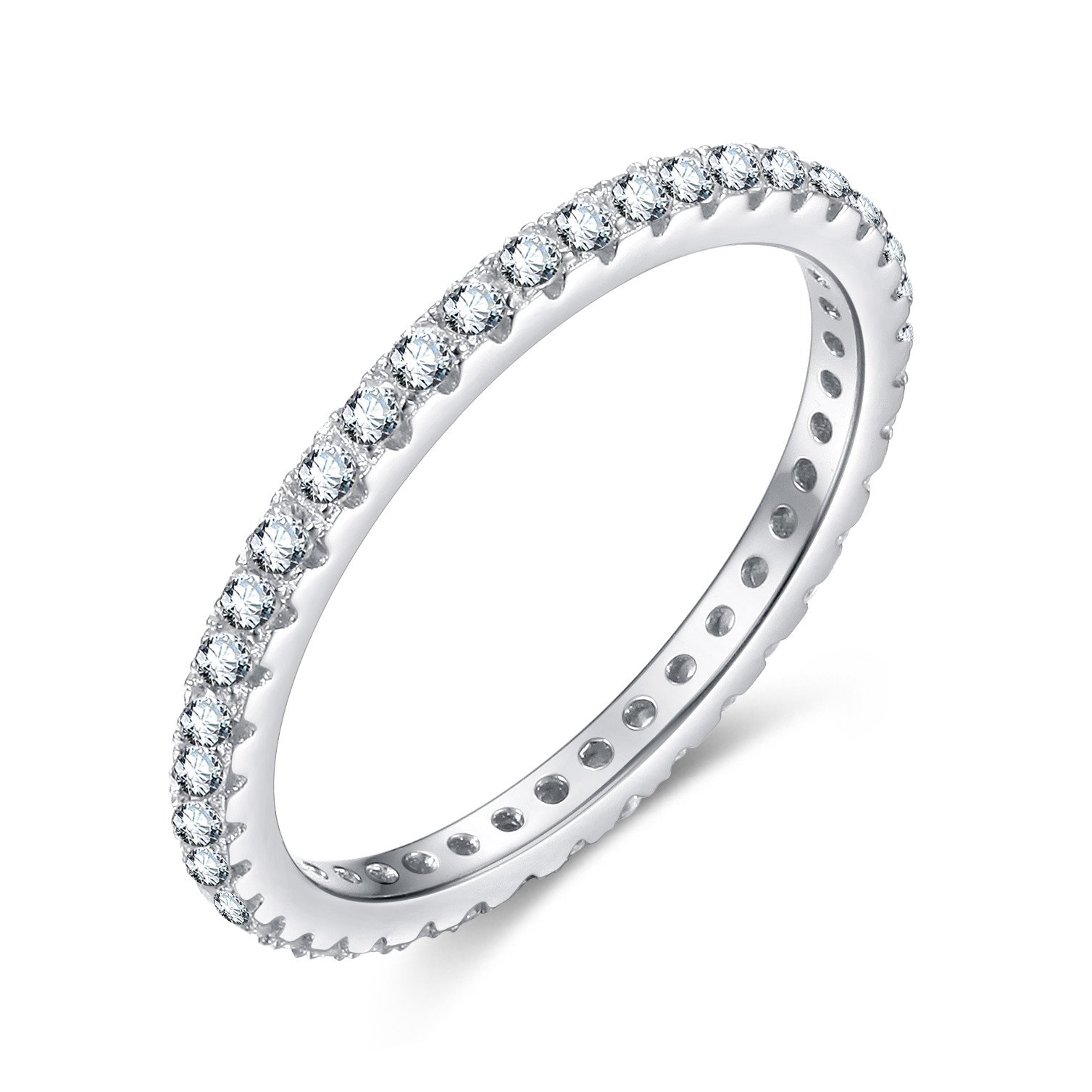 EAMTI 925 Sterling Silver Wedding Band Cubic Zirconia Stackable Eternity Engagement Ring Size 7