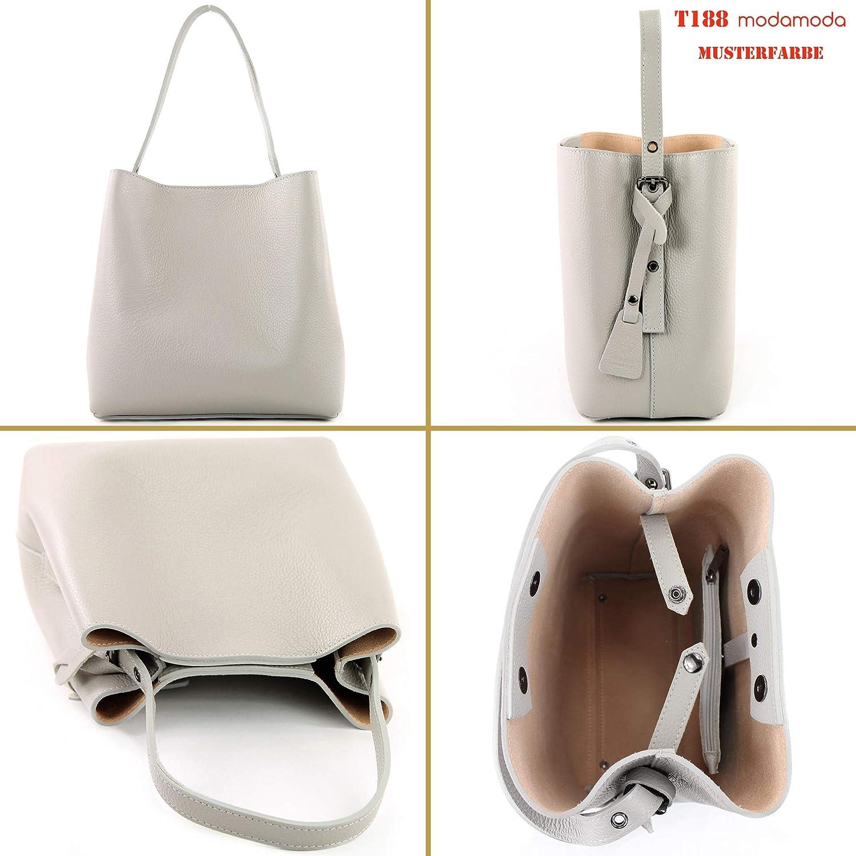 modamoda de – T188 – italiensk tygkasse shoppingväska av läder Dark Chocolate