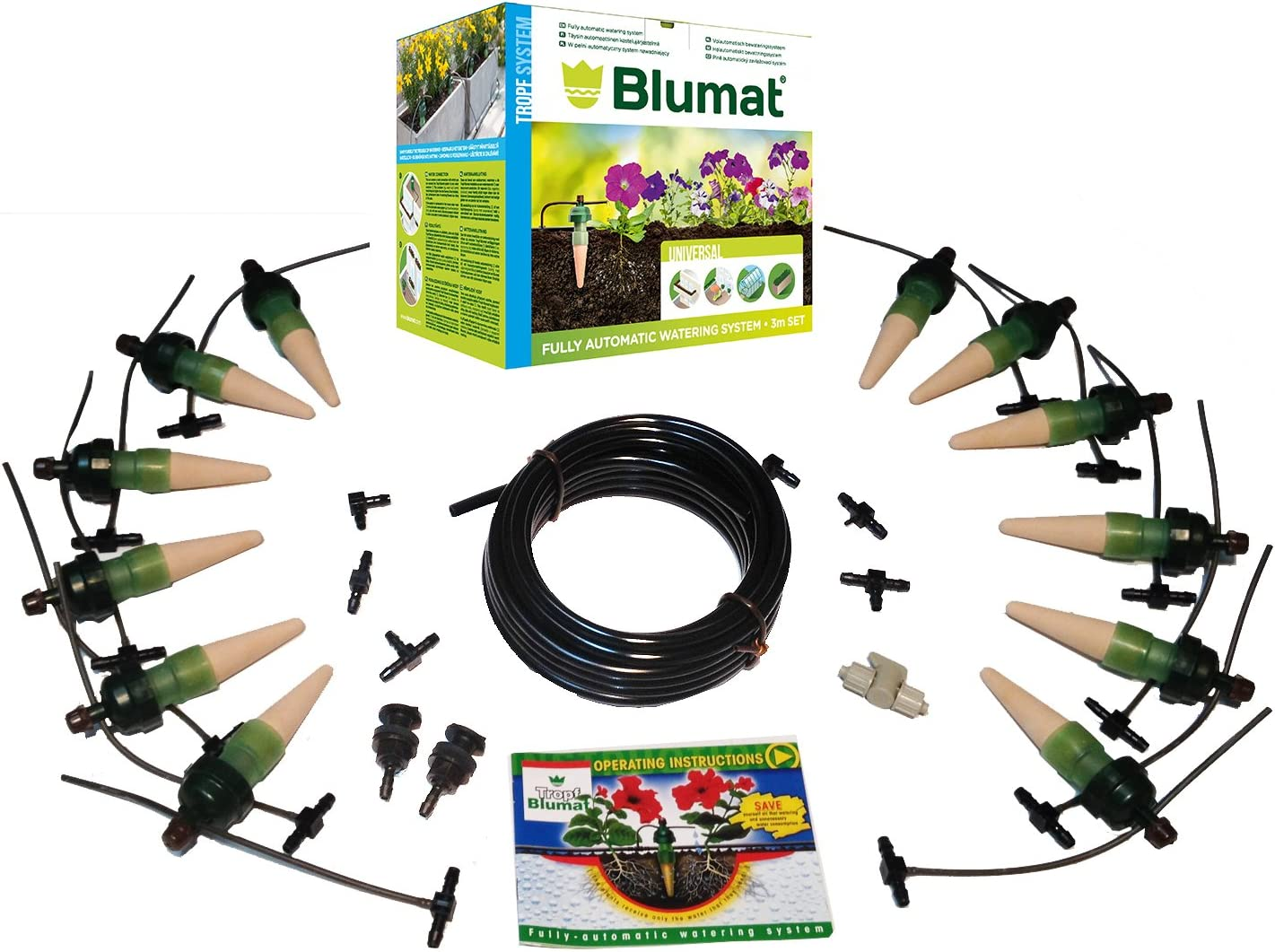 Blumat (TROPF Medium Deluxe DRIP Irrigation KIT (12-Pack): Automatic Watering System for Outdoor Plants, Planters, and Decks