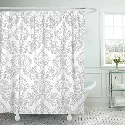 TOMPOP Shower Curtain The Of Baroque Gray And White Floral Graphic Waterproof Polyester Fabric 72 X