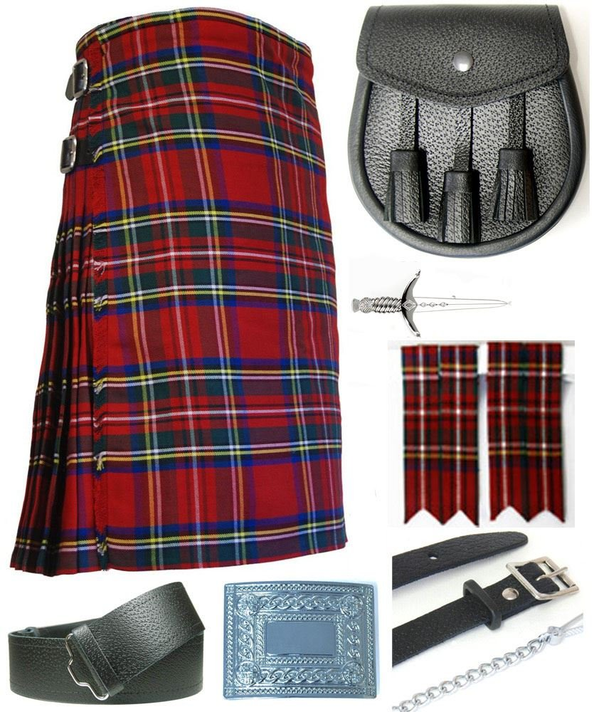 Mens Royal Stewart Tartan 7 Piece Casual Kilt Outfit Size: 38'' - 42'' by Kilt Society
