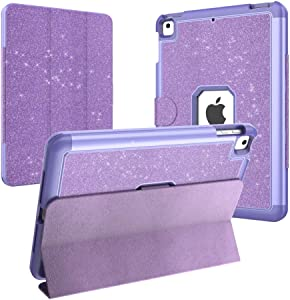 CASZONE iPad Air 2 Shockproof Case 3-Layer Hybrid Heavy Duty Rugged Glitter Protective Cover with Detachable Trifold Stand and Auto Wake/Sleep for iPad Air/Air 2/Pro 9.7 2016/iPad 5th/6th Gen, Purple