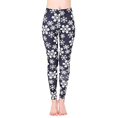 301b526497e0d4 Christmas Yoga Leggings Women Mingfa Xmas Snowflake Printed Sports Gym Pants  Fitness Running Workout Trousers (