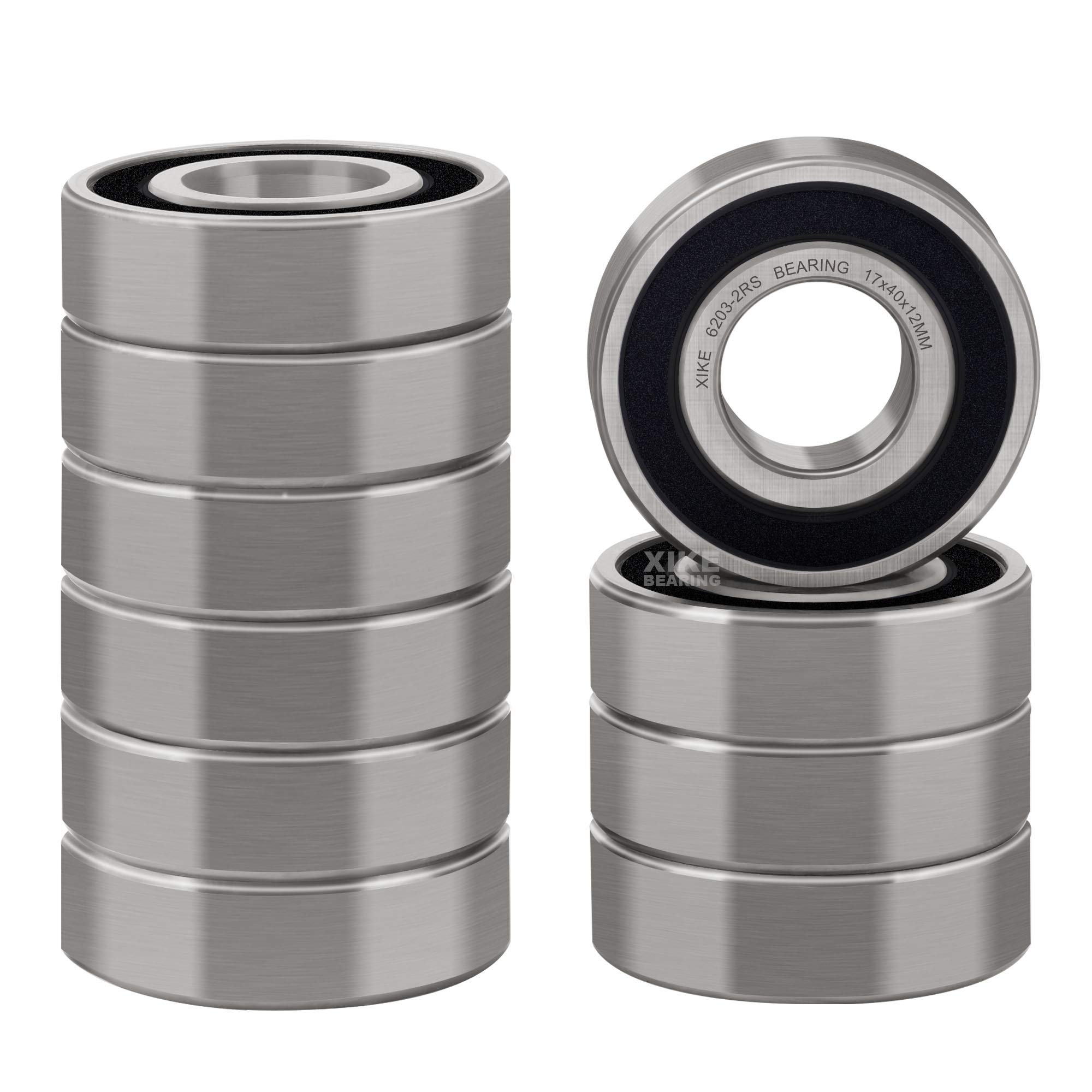 Deep Groove Ball Bearings. Double Seal and Pre-Lubricated Rotate Quiet High Speed and Durable XiKe 10 Pack 6001-2RS Precision Bearings 12x28x8mm