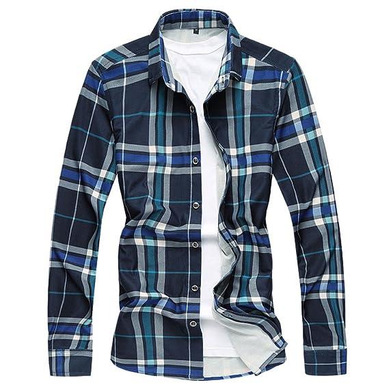 Honghu Camiseta B/ásica de Manga Larga para Hombre Tama/ño L Azul