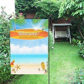 Decoración para el hogar al aire libre doble cara playa cosas y tabla de surf vieja con bandera de jardín de felicitación, casa yarda, decoración de jardín, temporada de bienvenida al aire