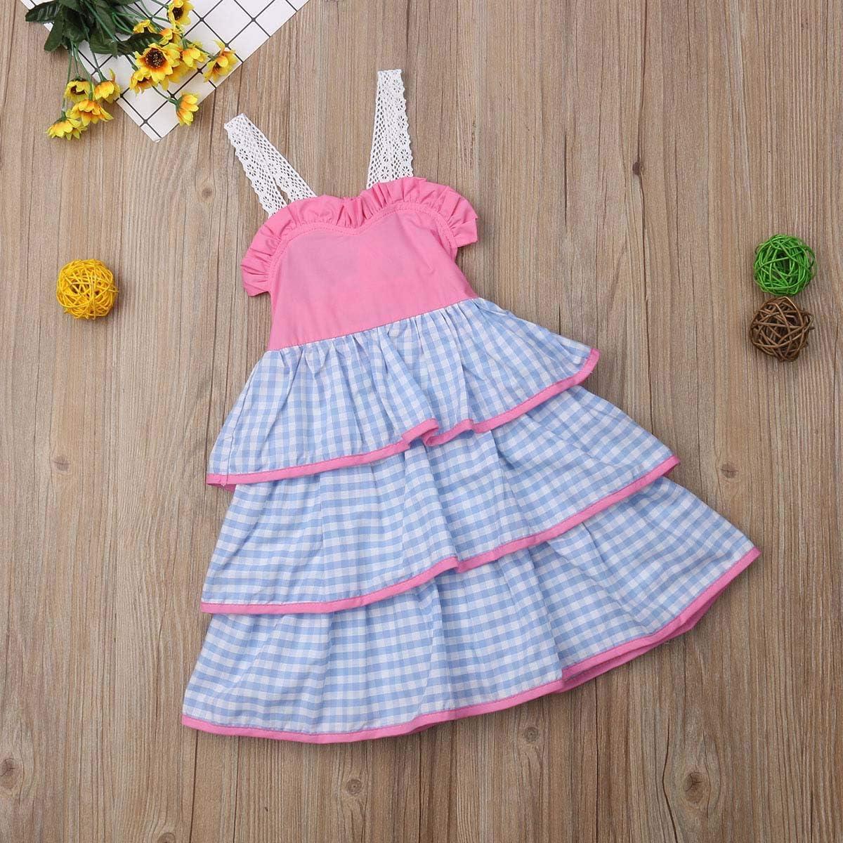 Guyay Baby Girl Sling Stitching Backless Princess Dress 3 Layer Dress Polka dot Striped Dress Party Banquet Dress Casual Tutu
