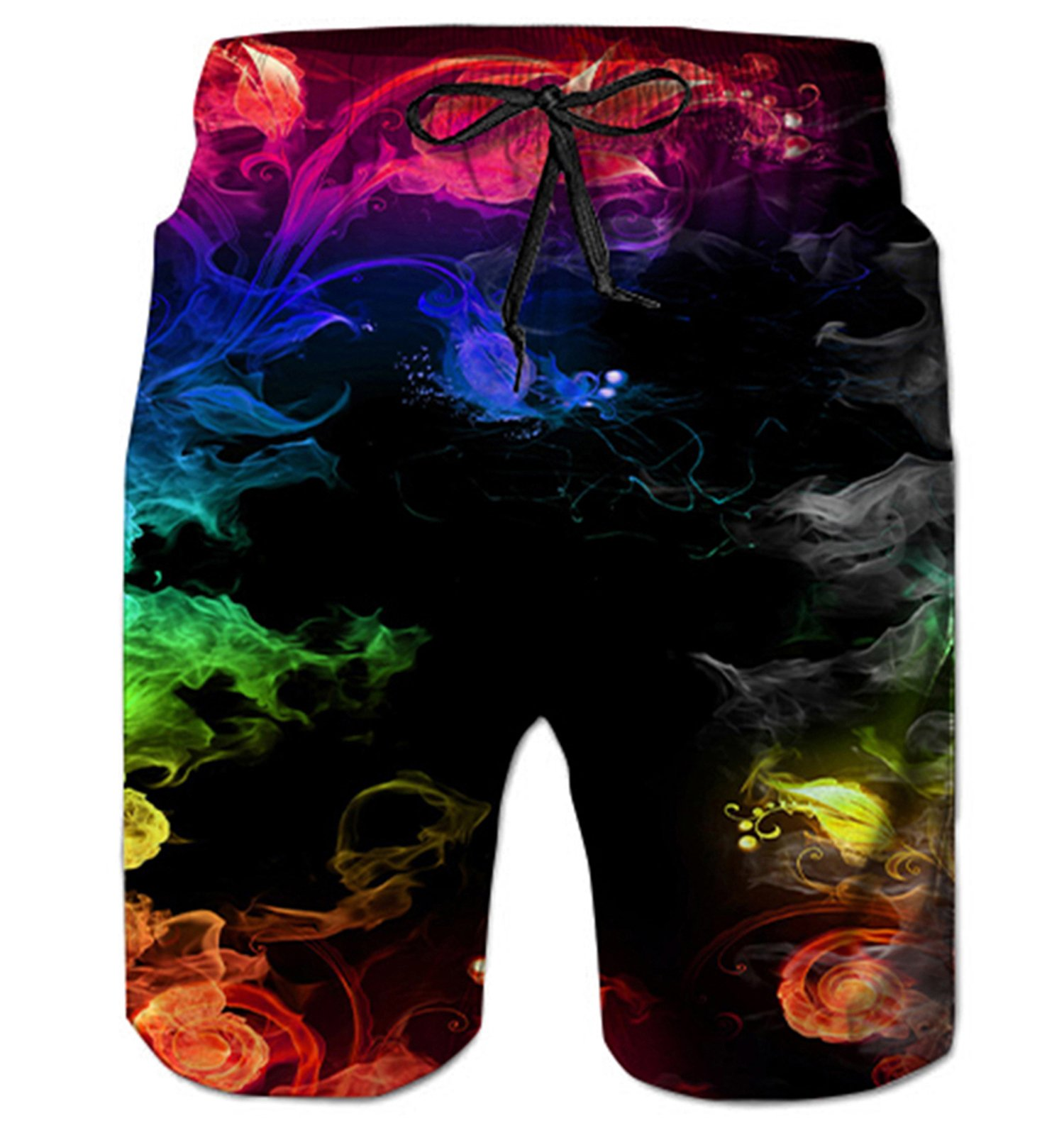 Alistyle Mens Summer Sleeveless 3D Print Colorful Smoke Hawaiian Graphic Beach Shorts Large