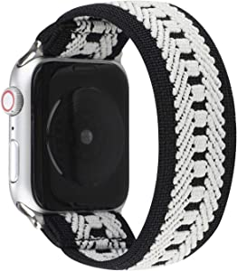 JimBird Stretchy Elastic Sport Loop Strap Compatible for Apple Watch Band 42mm 44mm iWatch Series 6/SE/5/4/3/2/1 Stretch Elastic Wristband (Stripe-A, 42/44mm for Small Wrist)