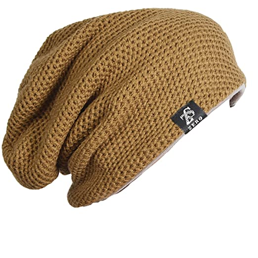 713ceda97d FORBUSITE Mens Slouchy Large Beanie Knit Cap for Summer Winter F100 (Khaki)
