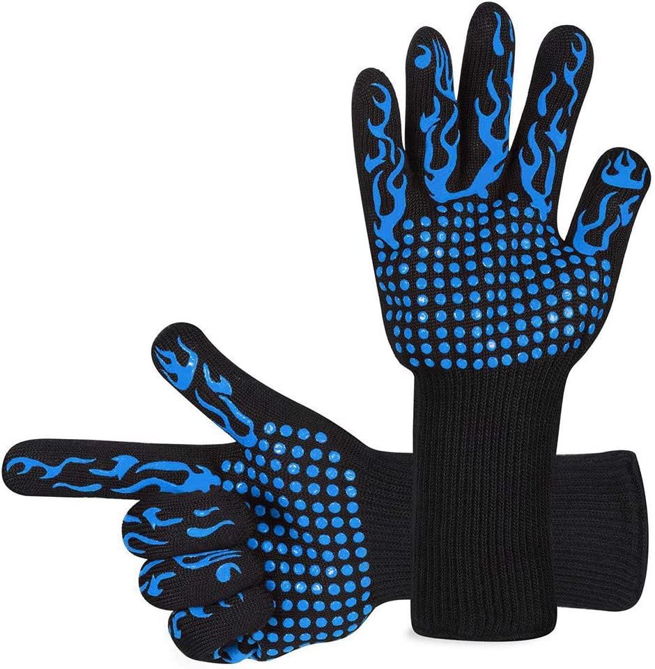 BBQ Grill Gloves, 1472°F Extreme Heat Resistant Oven Mitts Kitchen Gloves Silicone Non-Slip Cooking Gloves for Welding, Cooking, Baking, Pot Holders (1 Pair, Blue)