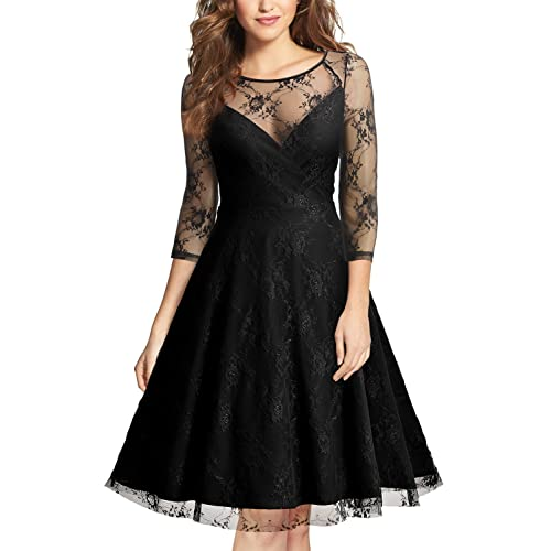 MIUSOL Womens V Neck Lace Vintage 1950s Swing Party Dress