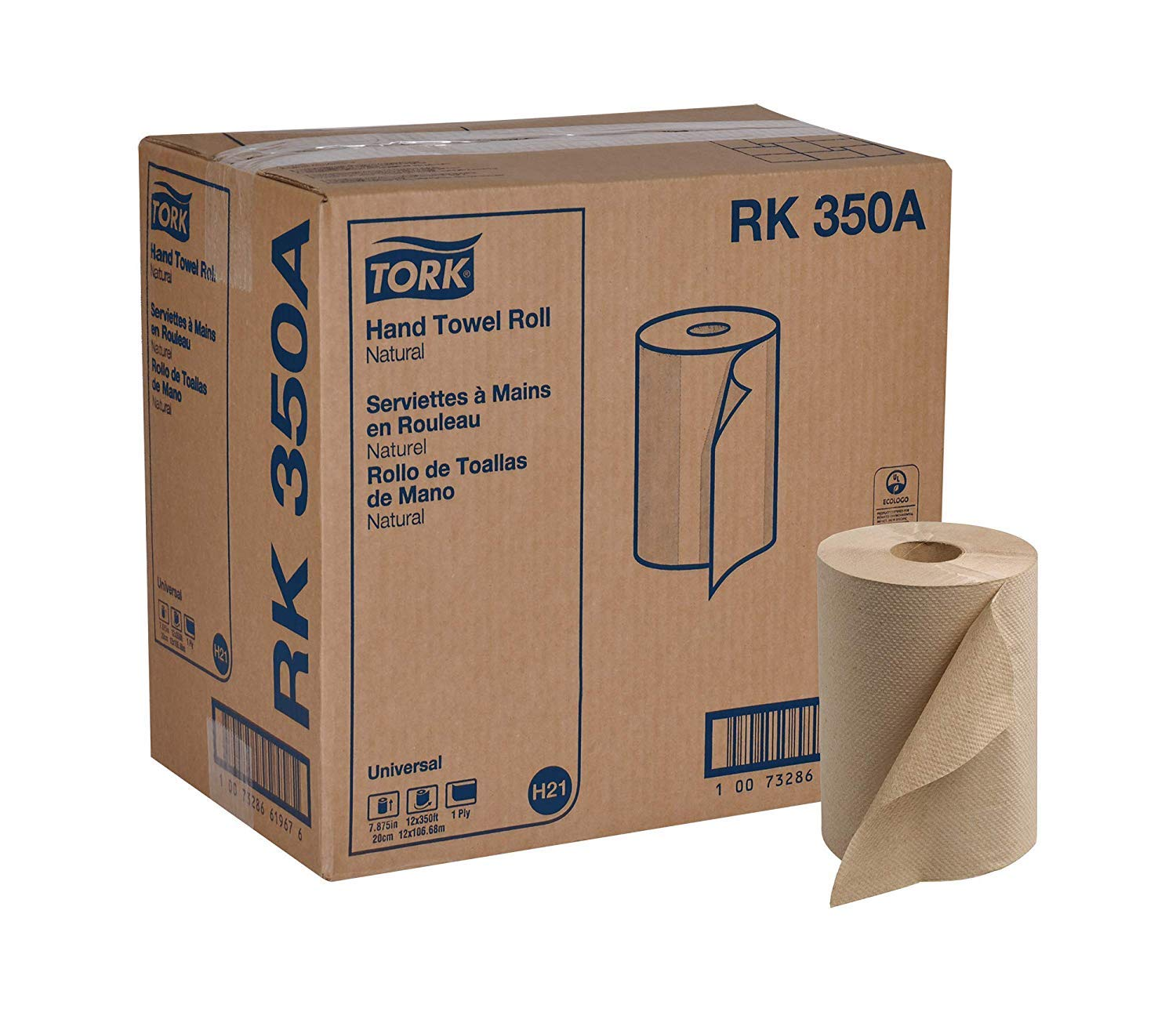 Tork Universal RK350A Hardwound Paper Roll Towel, 1-Ply, 7.87'' Width x 350' Length, Natural, Green Seal Certified (Case of 12 Rolls, 350 per Roll, 4,200 Feet) (2 Ply)