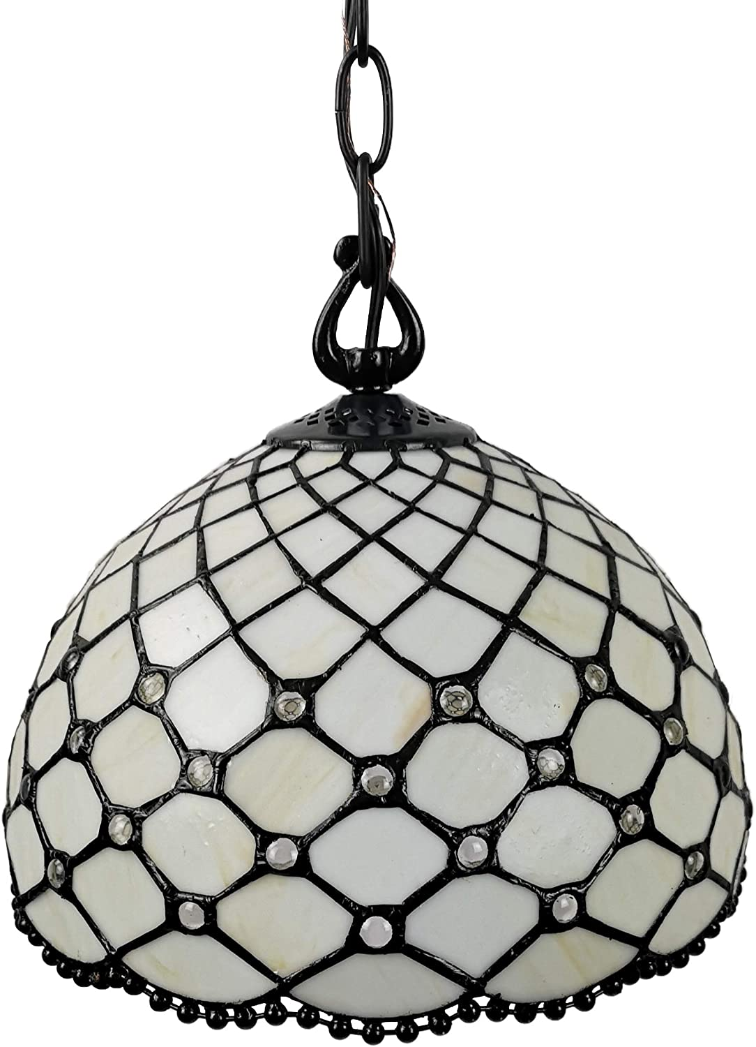 Amora Lighting Tiffany Style Hanging Pendant Lamp Ceiling 12 Wide Stained Glass White Jeweled Antique Vintage Light Decor Restaurant Game Living Dining Room Kitchen Gift AM119HL12B