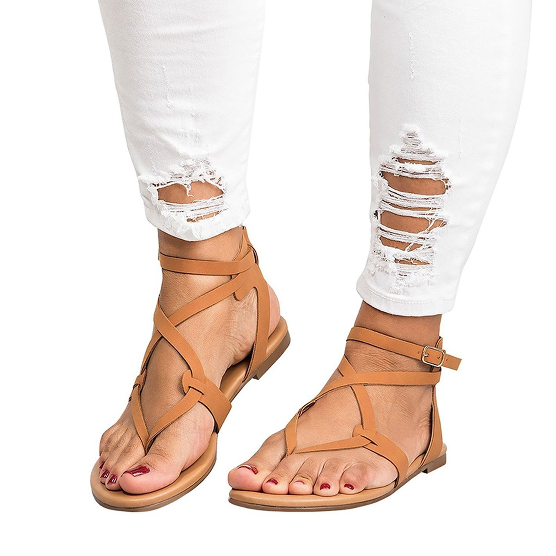 Romantic moments New Arrive Women Gladiator Sandals Summer Women Shoes Plus Size 35-43 Flats Sandals B07DLTP1JB 9 B(M) US|Red