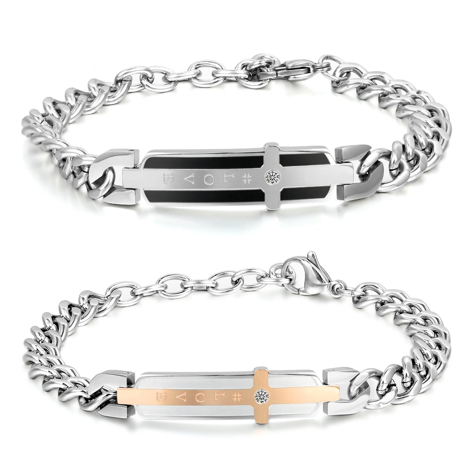 """2pcs Stainless Steel Cubic Zirconia His Queen Her King Bracelets,Romantic """"Keep Me In Your Heart """" ,CZ """"Love"""" Charm Bangle Braclets for Valentines Gifts"""