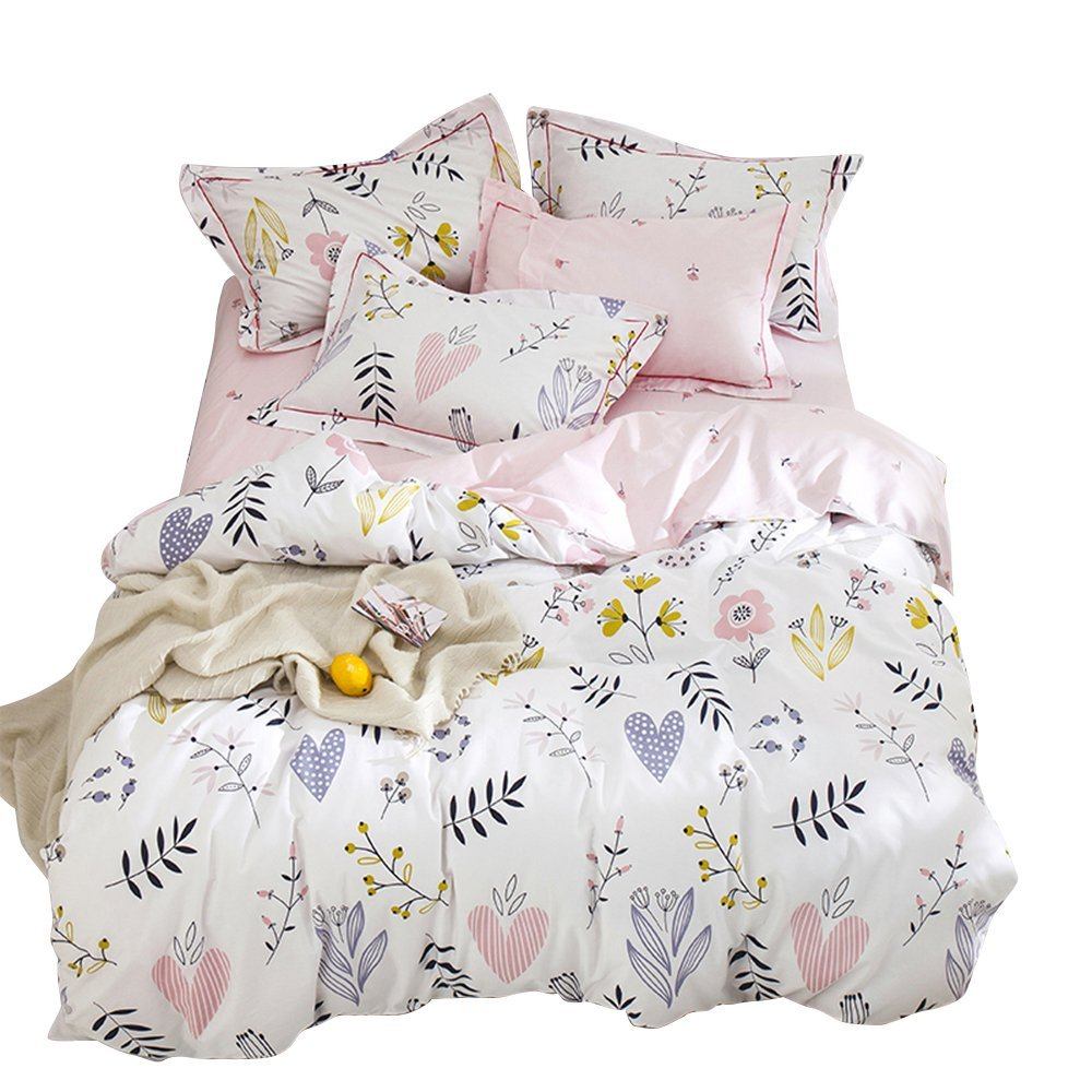 BuLuTu Floral Love Print Full Girls Duvet Cover with Fitted Sheet,4 Pieces Reversible Blossom Kawaii Colorful Bedroom Comforter Cover Queen Bedding Sets Cotton White/Pink,NO COMFORTER