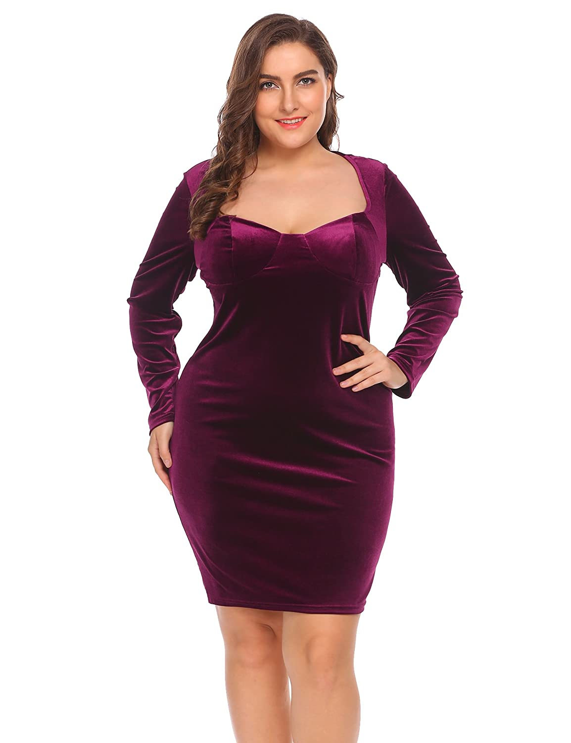 6da25483e790 Women's Plus Size Vintage 1950S Long Sleeve Velvet Bodycon Dresses Elegant  Party Cocktail Dress at Amazon Women's Clothing store: