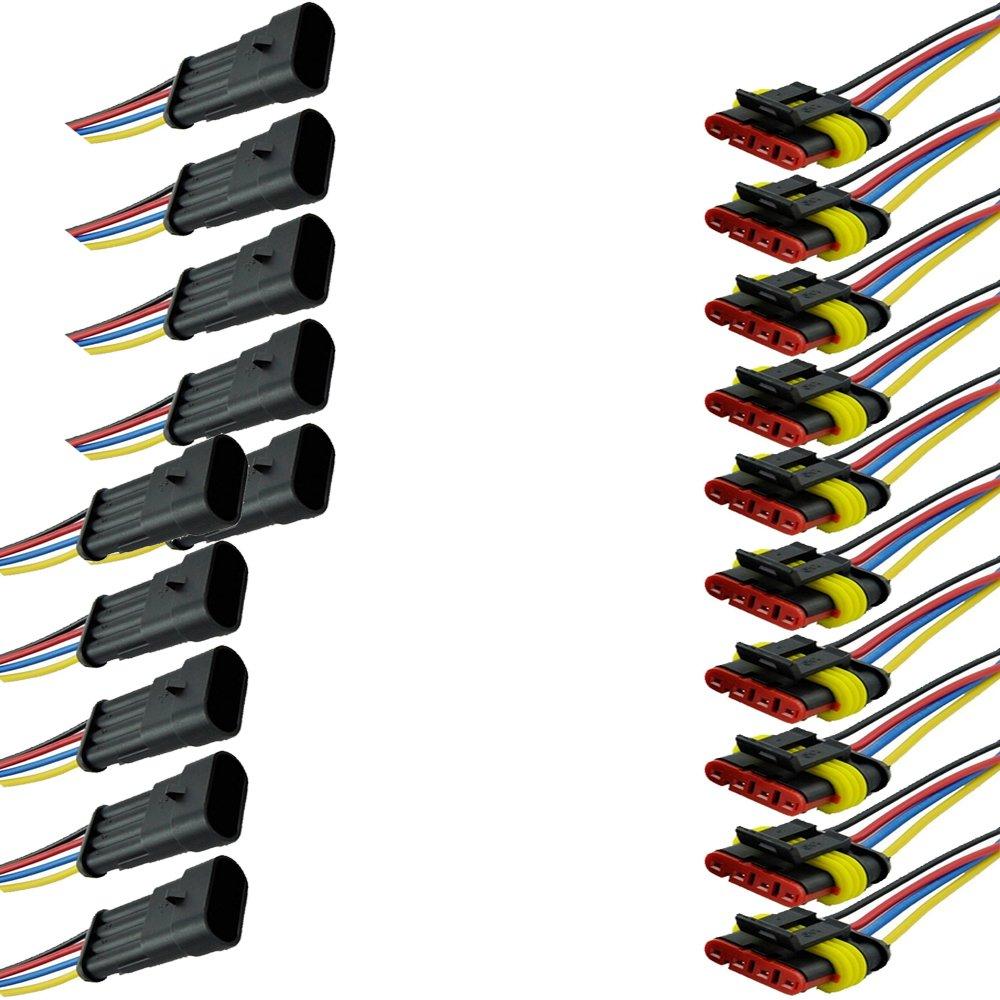 Mintice™ 10 X 2 broche voiture de façon automatique étanche connecteur électrique kit de prise de courant avec du fil AWG de calibre marin