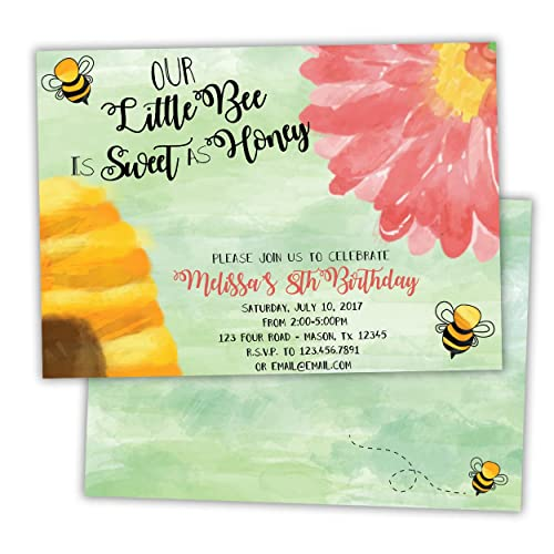 Amazon bumble bee birthday invitations girl garden party handmade bumble bee birthday invitations girl garden party stopboris Choice Image