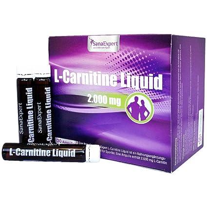 SanaExpert L-Carnitine en ampollas, 30x25 ml, Estimulante de Energía y Quemador de